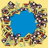 Electronics music technology from audio players to players with headphones and audio cassettes 60s 70s 80s 90s. The texture of the retro frame of an old hipster stock illustration