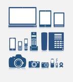 Electronics. Original illustration on electronics in blue tones Royalty Free Stock Photo