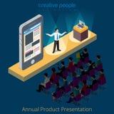 Electronics product smartphone presentation promo. Scene concept. Flat 3d isometry isometric style web site app icon set concept vector illustration. Creative Stock Image