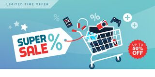 Free Electronics Promotional Sales Banner With Shopping Cart Royalty Free Stock Image - 168812806
