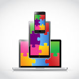 Electronics puzzle pieces tablet screen Stock Image