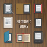 Electronics reader book collection. Vector. Electronics reader book collection. New books colorful icons. Mobile tablet devices. Modern gadgets. Flat badge Stock Images