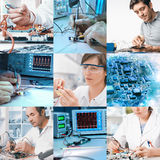 Electronics repair and assembly, set of nine pictures Royalty Free Stock Photo