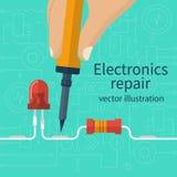 Electronics repair concept. Calibration, diagnostics, checking, maintenance electronics, computer equipment. Service center, workshop banner template Royalty Free Stock Photos
