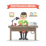 Electronics repair man. Stock Photo