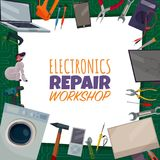Electronics Repair Poster. Colored electronics repair poster with electronic repair workshop headline and different tools spread out around vector illustration Royalty Free Stock Photo