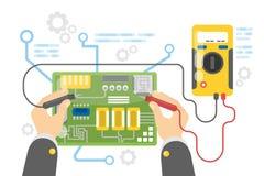 Electronics repair service. Hands fixing broken parts of motherboard Stock Image