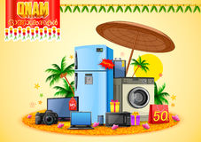 Electronics sale for advertisement and promotion background for Happy Onam festival of South India Kerala Royalty Free Stock Photo