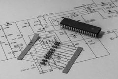 Electronics. Schematics with micro-controller and resistors Royalty Free Stock Images