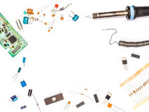 Electronics set. Electronic components and electronics tools. Royalty Free Stock Images