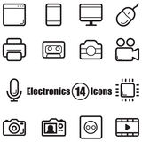 Electronics set of 14 icons with lines in flat style Royalty Free Stock Image