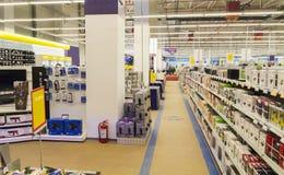 Electronics shop. Big electronics shop with shelves Stock Images