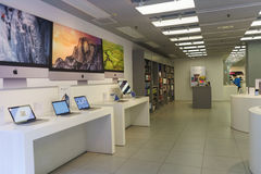 Electronics shop interior. HONG KONG - APRIL 16, 2015: electronics shop with Apple gadgets. Apple Inc. is an American multinational corporation headquartered in Royalty Free Stock Photography