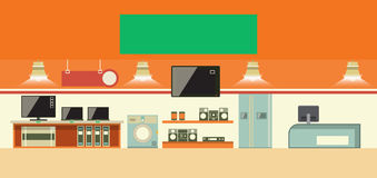Electronics shop vector illustration. Consumer electronics shop interior. Cartoon vector illustration Royalty Free Stock Images
