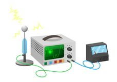 Electronics Special Equipment Connected with Wires. On white vector illustration. Device for getting signals used in radio technologies Royalty Free Stock Image