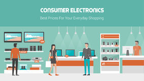 Electronics store. Banner with mobile phones, laptops, tv and audio equipment on shelves and displays, customers buying products and shop assistant Royalty Free Stock Photos