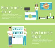 Electronics store banners with shopping people. Electronics store interior banners with shopping people. Vector illustration in flat style Royalty Free Stock Photos