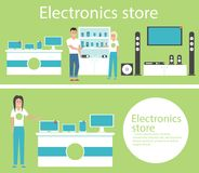 Electronics store banners with shopping people. Electronics store interior banners with shopping people. Vector illustration in flat style Royalty Free Stock Photography