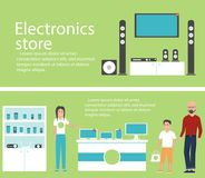 Electronics store banners with shopping people. Electronics store interior banners with shopping people. Vector illustration in flat style Stock Photos