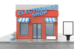 Electronics Store with copy space board isolated on white background. Modern shop buildings, store facades. Exterior. Market. Exterior facade store building. 3D Stock Image