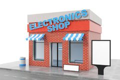 Electronics Store with copy space board isolated on white background. Modern shop buildings, store facades. Exterior. Market. Exterior facade store building. 3D Royalty Free Stock Photos
