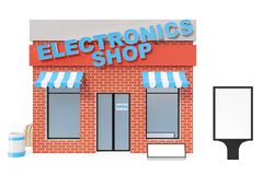 Electronics Store with copy space board isolated on white background. Modern shop buildings, store facades. Exterior. Market. Exterior facade store building. 3D Royalty Free Stock Photography