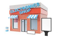 Electronics Store with copy space board isolated on white background. Modern shop buildings, store facades. Exterior. Market. Exterior facade store building. 3D Royalty Free Stock Image