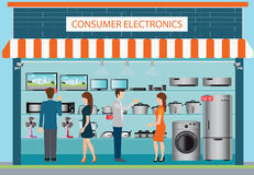 Electronics store design. People in consumer electronics store, laptops, television, Computers, fan, Toaster, refrigerator, washing machine, kettle, rice cooker Royalty Free Stock Images