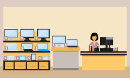 Electronics store. Happy woman seller in the electronics store. Vector illustration Stock Photos