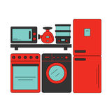 Electronics store. Home appliances on store shelves. Royalty Free Stock Photo