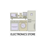 Electronics store image in the style of the line. Home appliances on store shelves. Stock Photography