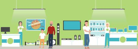 Electronics store banner with shopping people. Electronics store interior banner with shopping people. Vector illustration in flat style royalty free illustration