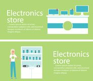 Electronics store banners with digital gadgets. Electronics store interior banners with digital gadgets. Vector illustration in flat style Royalty Free Stock Photo
