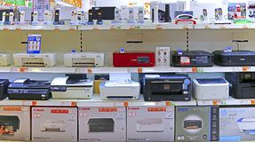 Electronics store laser and ink jet printers for sale Royalty Free Stock Photography