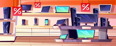 Electronics store in mall shop vector illustration. Electronics store vector illustration of consumer appliances shop department interior in trade mall. Sale for stock illustration