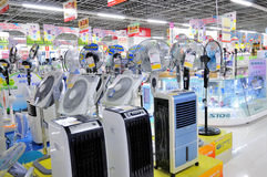 Electronics stores,fan. Many fans in the supermarket,this photo was taken at shopping mall of wanda wuxi city china,on August 27, 2011 Stock Image