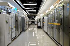 Electronics stores,refrigerator. Many refrigerator in the largest electronics stores Royalty Free Stock Photography