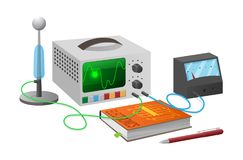 Electronics Studies with Equipment Illustration Stock Photo
