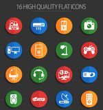 Electronics supermarket 16 flat icons. Electronics supermarket vector icons for web and user interface design Royalty Free Illustration
