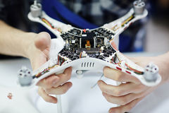 Electronics System in Quadrocopter Drone Royalty Free Stock Images