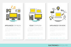 Electronics Technology Business Brochure Template with Thin Line Icons Royalty Free Stock Photography