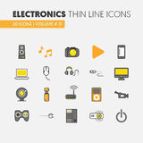 Electronics Technology Thin Line Icons Set with Computer and Gadgets Royalty Free Stock Images