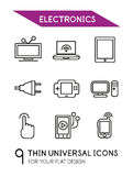Electronics thin line icon set Stock Images