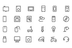 Electronics Vector Line Icons 1 Stock Images
