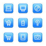 Electronics web icons. Vector web icons, blue glossy buttons series, V2
