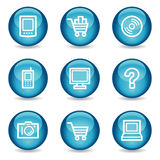 Electronics web icons, blue glossy sphere series Stock Photos