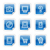 Electronics web icons, blue glossy sticker series Stock Image