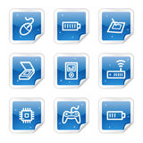 Electronics web icons, blue sticker series set 2. Vector web icons, blue glossy sticker series stock illustration