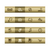 Electronics web icons on bronze bar Stock Image