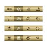 Electronics web icons on bronze bar Stock Image